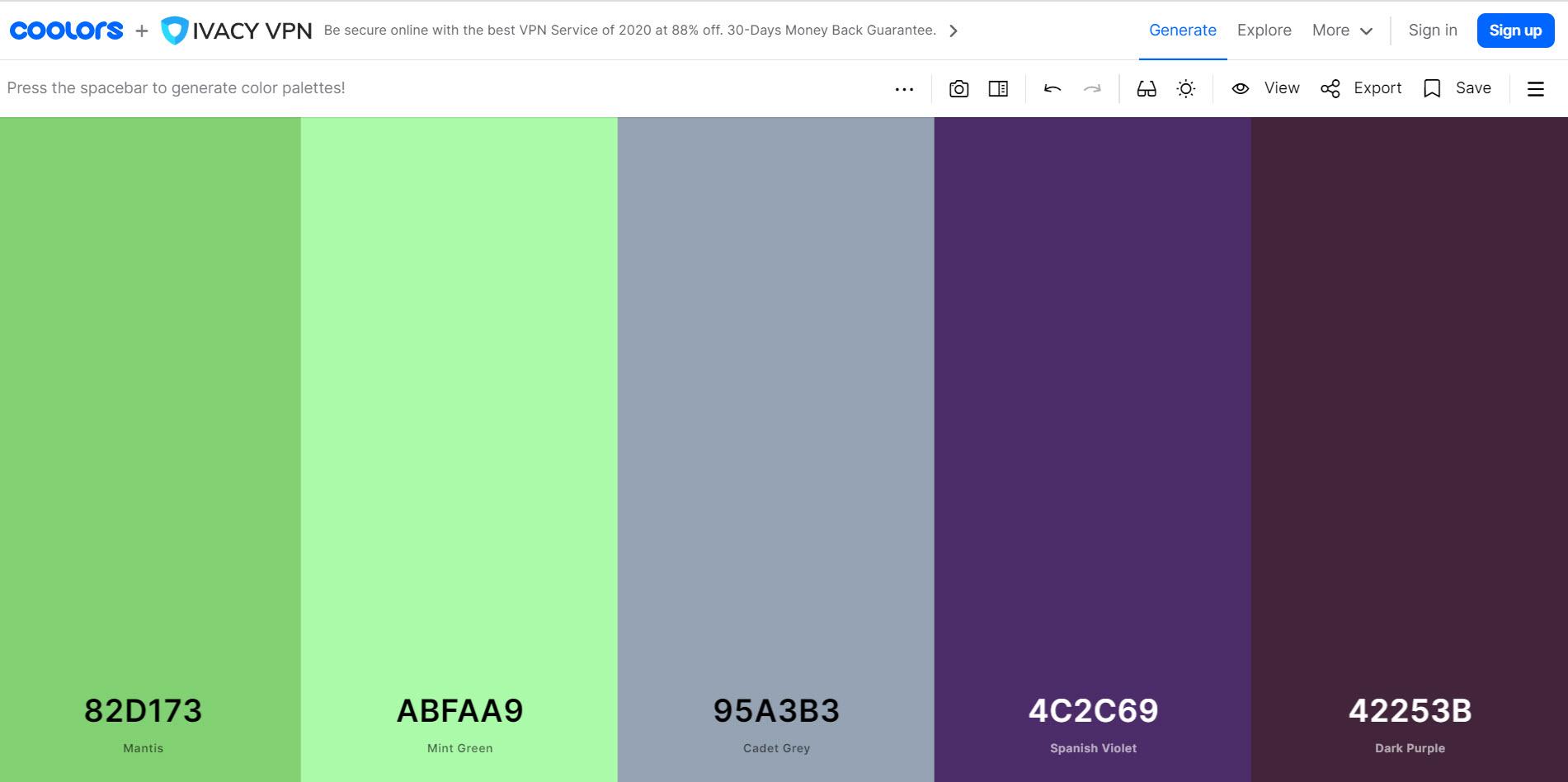Coolors Website Color picker