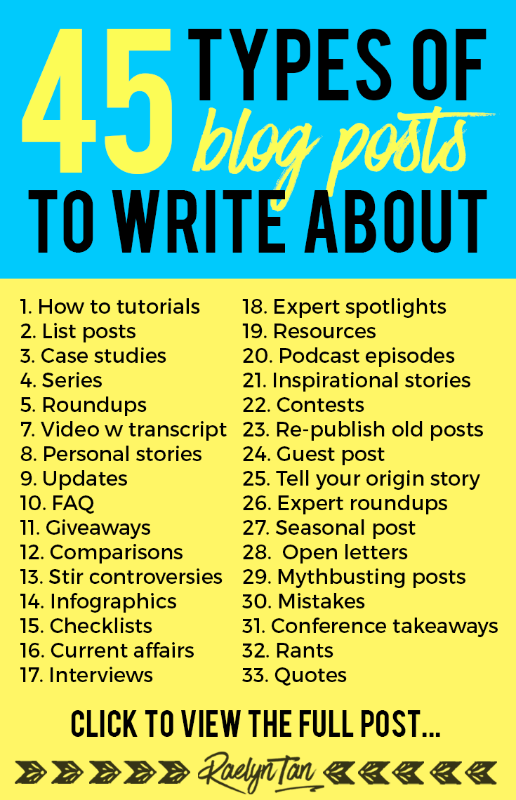Types of blogging content